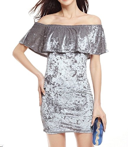 Dresses Silver Shoulder Womens Bodycon Flouncing Comfy Gold Velvet Off HA0wqvxC