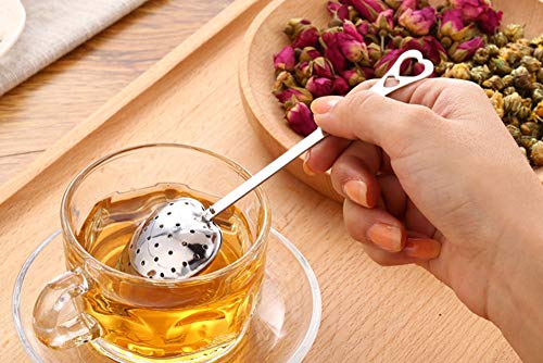 Tea Filter Long Grip Stainless Steel Mesh Heart Shaped Tea Strainer Spoon, Set of 10 Tea Infuser Spoon by WYOK (Image #3)
