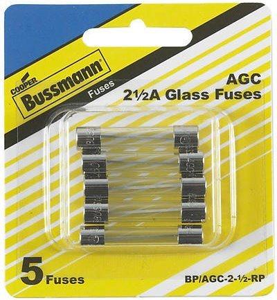 Bussmann AGC-2-1/2 AGC Series Fuse, Fast Acting, 2-1/2 Amp, 250V, Glass Tube, 1/4