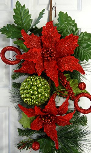 24'' Christmas Poinsettia Teardrop by V-Max Floral Decor (Image #1)