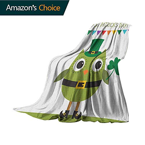 St. Patricks Day Sofa Blanket,Owl with Leprechaun Costume Greeting Design for Party Shamrock Pattern 300GSM,Super Soft and Warm,Durable Throw Blanket,50