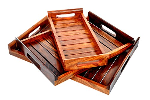 (Patio Serving Tray – Wood Tray India –Set of 3 Patio Trays with Handles – Rosewood Dish Set – Sheesham Wood Coffee Table Set – Stylish Serving Tray Set – Various Size Available –Indian Rosewood Buffet)