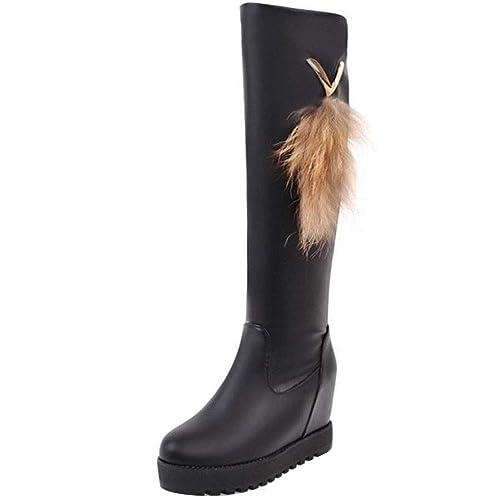 ec3a519ae7224 RAZAMAZA Damen Keilabsatz Lange Stiefel Slip Ons: Amazon.de: Schuhe ...