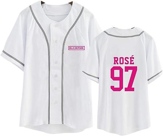 KPOP Blackpink Camiseta de béisbol Mujer/Hombre Verano V-Cuello Harajuku Camiseta Coreano Negro Rosa Camiseta de Gran tamaño Tops Ropa: Amazon.es: Ropa y accesorios