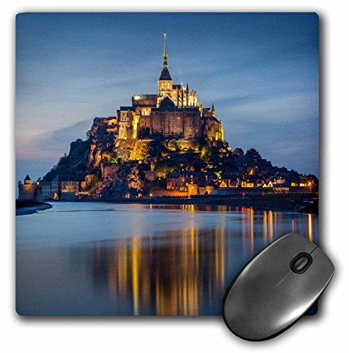 """Price comparison product image 3dRose Twilight Over Le Mont Saint Michel, Normandy, France. Mouse Pad, 8"""" x 8"""" (mp_206376_1)"""