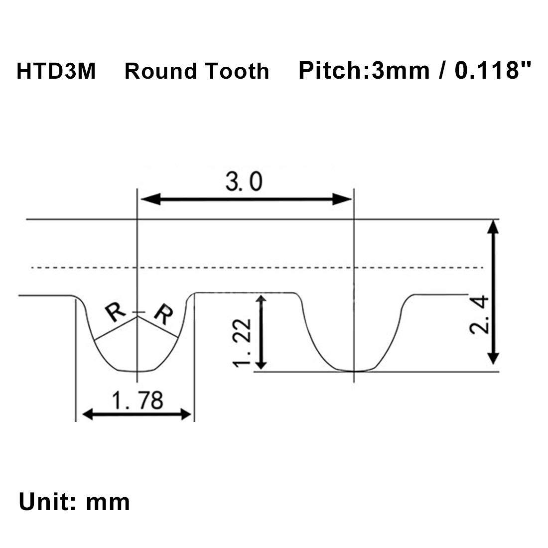 uxcell S3M 155 Teeth Engine Timing Belt Rubber Geared-Belt 465mm Girth 15mm Width