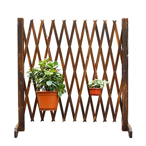 SMC Flower Stand Anticorrosive Wood Fence Telescopic Fence Carbonization Pull The Net Wooden Fence Gardening Sliding Door Outdoor Guardrail Patio Decoration Charcoal (Size : 120cm) -