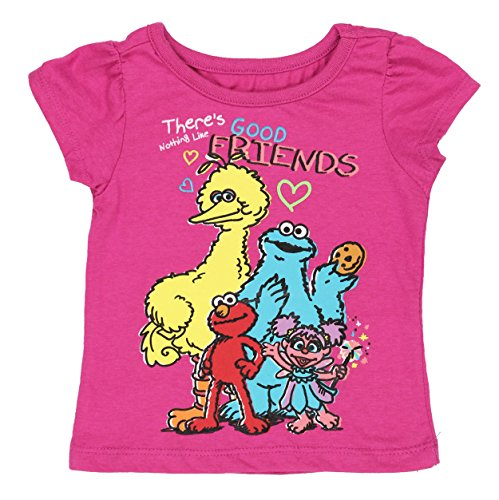 Sesame Street Elmo Girls Short Sleeve Tee (2T, Pink Good Friends)