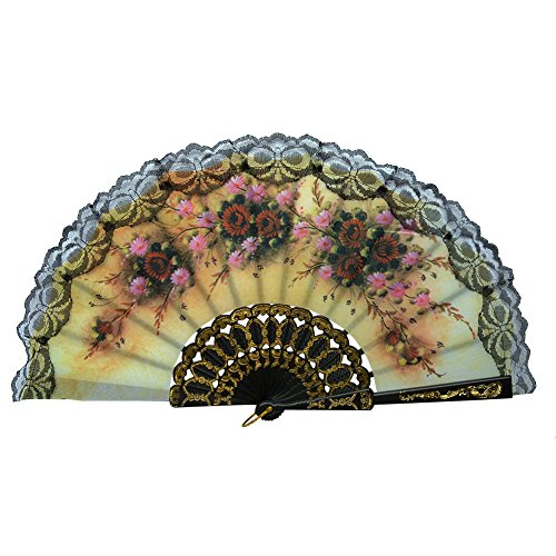 Froomer Gothic Flower Hand Held Fan Summer Birthday Vintage Party Decor Folding Fans