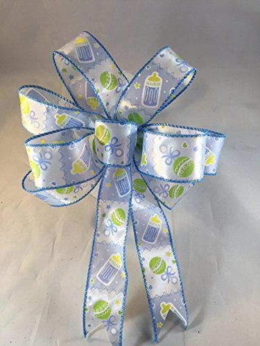 It's A Boy Bow Handmade Blue Bow 9 Inch Diameter Baby Sho...