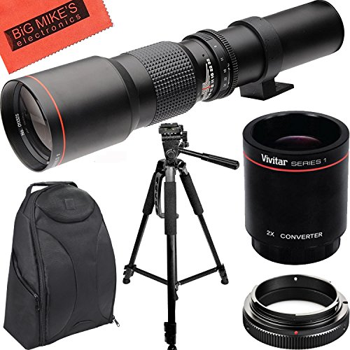 High-Power 500mm/1000mm f/8 Manual Telephoto Lens + Tripod + SLR Backpack for Canon Rebel T3, T3i, T5, T5i, T6, T6i, T6s, T7, T7i, SL1, SL2, EOS 70D, 77D, 80D, 5D III, 5D IV, 6D, 7D, 7D II Digital SLR