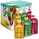 Nootra Probiotics - USDA Organic Cold Pressed Vegan Probiotic Smoothie Packed with Non GMO Fruit and Veggies. Kids and Adult Approved 6oz Squeeze Pouches for Easy Drinking On-the-Go (12 Pack Variety)