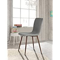 Set of 4 Eames Style Side Dining Chair Brown Metal Legs Fabric Cushion Seat and Back for Dining Room Chairs in Grey
