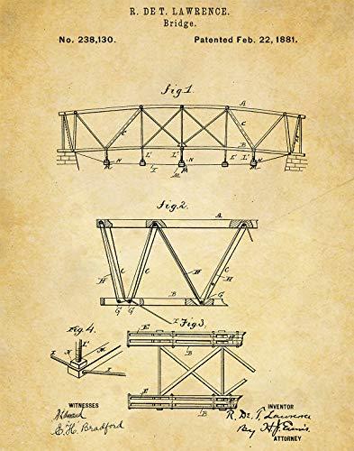 Bridge Construction Patent Wall Art Print - one (11x14) Unframed - wall art decor for bridge ()