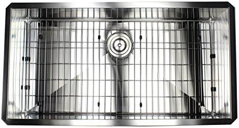 36 INCH Zero Radius Design 16 Gauge Undermount Single Bowl Stainless Steel Kitchen Island Sink Premium Package, Stainless Steel 36 INCH KKR-F3619
