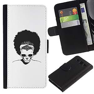 LECELL--Cuero de la tarjeta la carpeta del tirón Smartphone Slots Protección Holder For Samsung Galaxy S3 III I9300 -- Afro Cráneo --