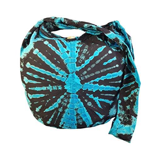 - BTP! Tie Dye Sling Crossbody Shoulder Bag Purse Hippie Hobo Cotton Bohemian Colorful Firework (Turquoise VJ6)