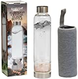 Elixir2Go Crystal Elixir Bottle – 16oz Gemstone Water Bottle for Making Crystal Infused Gemwater – Includes Gem Stones and Protective Neoprene Sleeve (Rose Quartz & Clear Quartz)