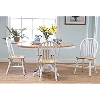This Item Simple Living Farmhouse 5 Piece White Natural Dining Room Set Country Style Table And Chairs