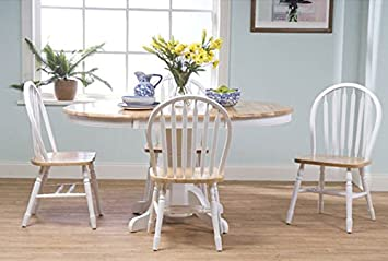Simple Living Farmhouse 5 Piece White Natural Dining Room Set Country Style  Table And Chairs Part 87