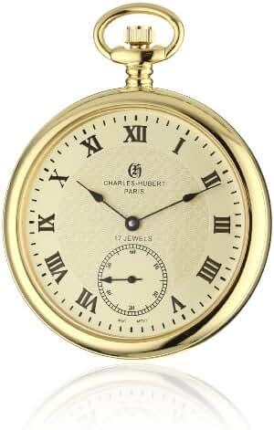 Charles-Hubert, Paris 3912-G Premium Collection Stainless Steel Pocket Watch