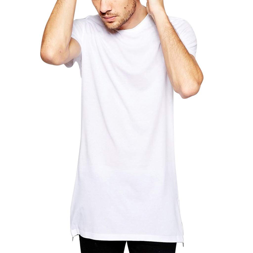 Xlala Short Sleeve for Men's Long Size Casual Zip Hip Hop Fashion Shirt Solid Color Slim Fit Tees Round Neck Classic Simple Top Blouse (White, M)