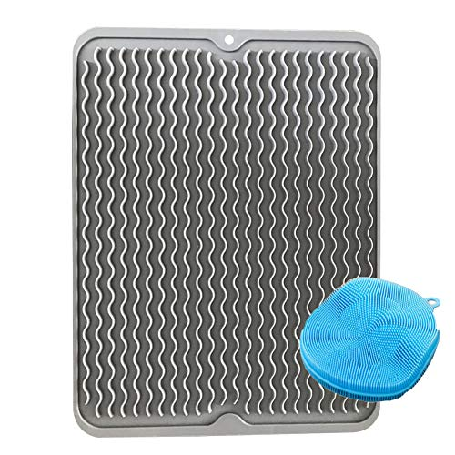 Delightry Silicone Dish Drying Mat & Scrubber, Eco Friendly