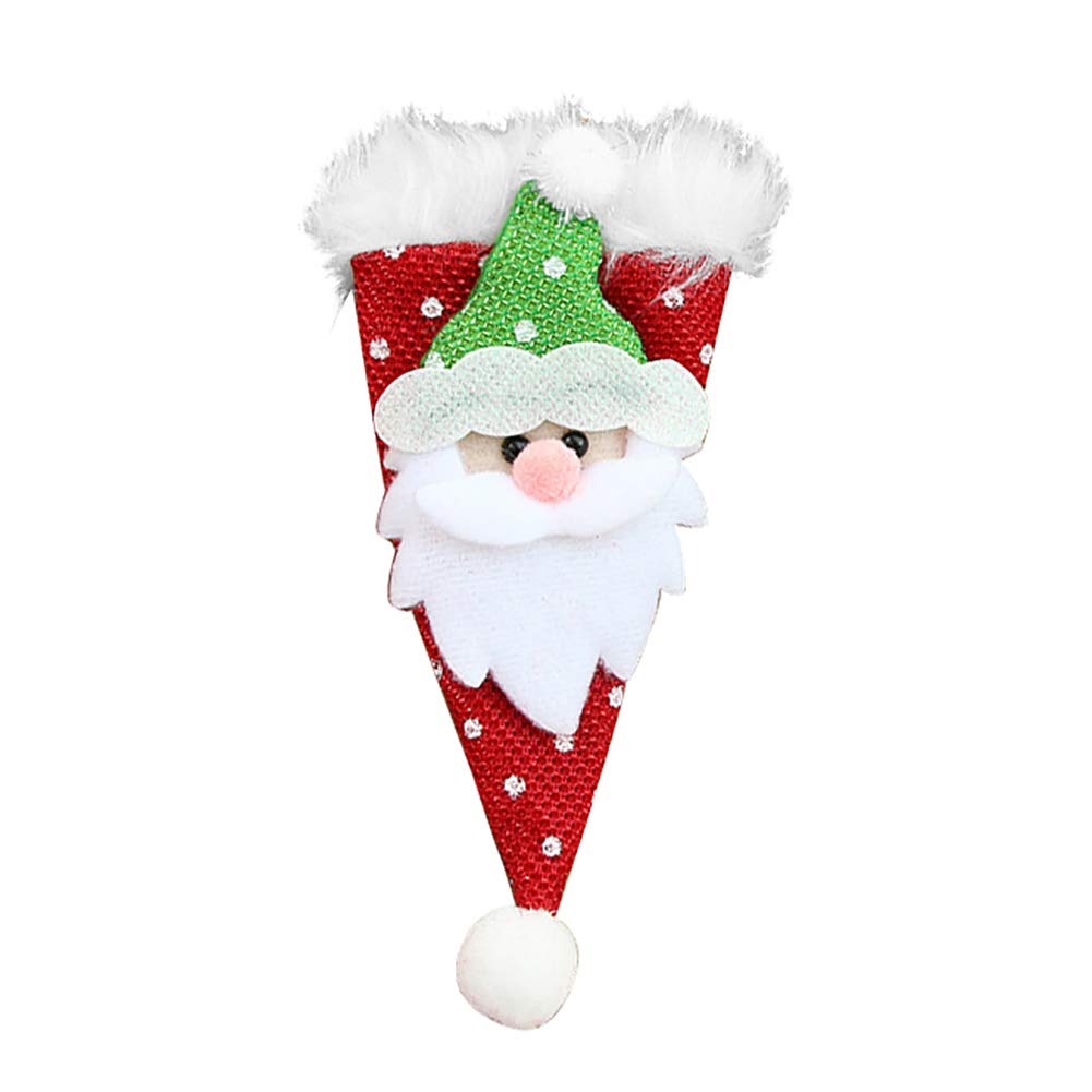 Wintefei Christmas Santa Snowman Deer Bear Cutlery Cover Knife Fork Spoon Holder Pouch Christmas Decor Gift Santa Claus