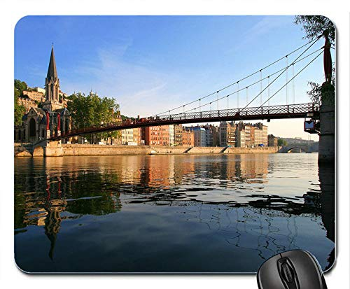 - Afternoon River and The Bridge of The Town Mouse Pad Anti Slip Desktop Mouse Pad Gaming Mouse pad