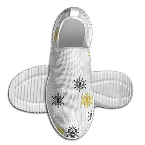 DiamondsJun Unisex Moroccan Style Modern Sun Beam Flowers With Rounds Dots All Over 3D Printed Mesh Slip On Fashion Comfortable Shoes 46