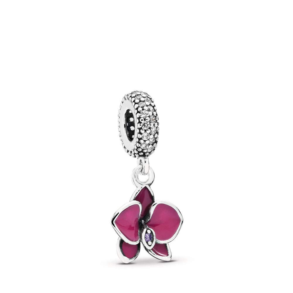 PANDORA Orchid Dangle Charm, Sterling Silver, Cubic Zirconia, One Size by PANDORA