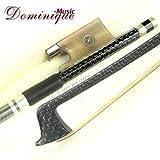 Master Silver Braided Carbon Fiber 4/4 Violin Bow White OX w/ Parisian eye Frog- Dominique Music M802