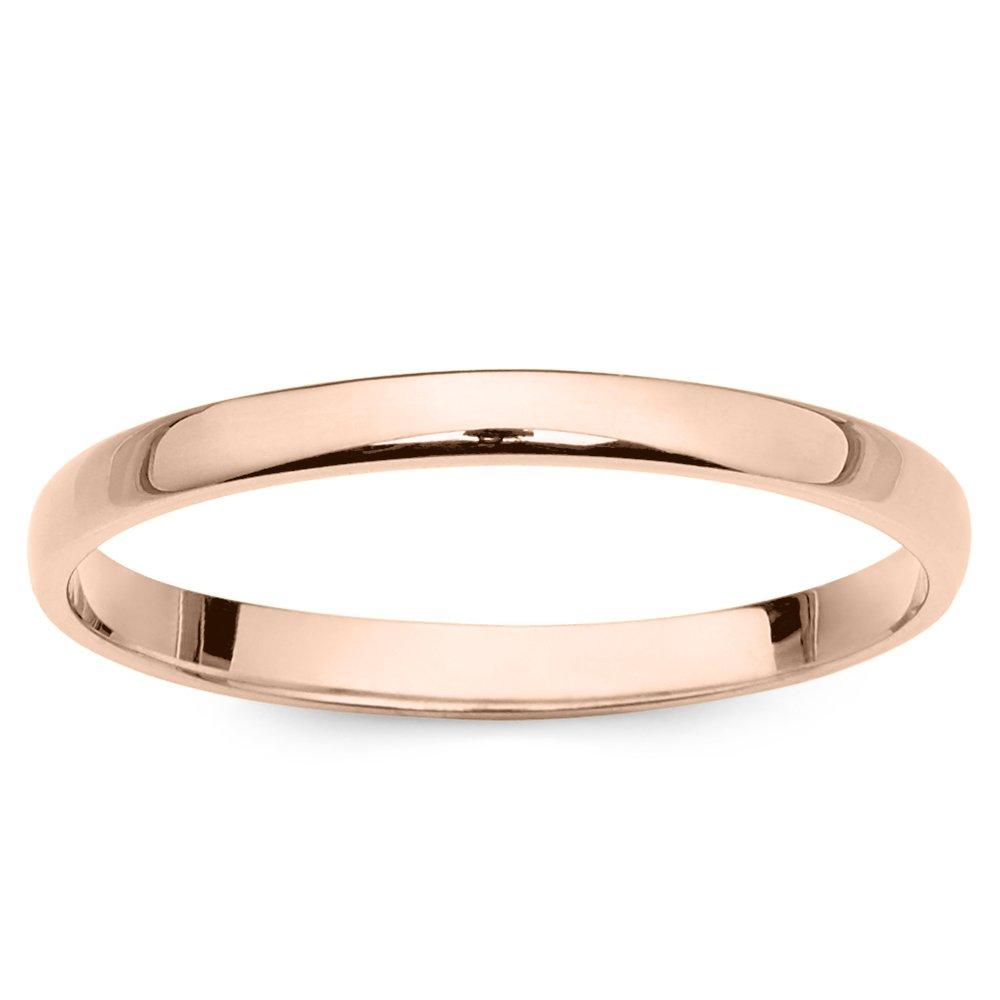 10k Rose Gold 2mm Light Comfort Fit Plain Wedding Band - Size 7