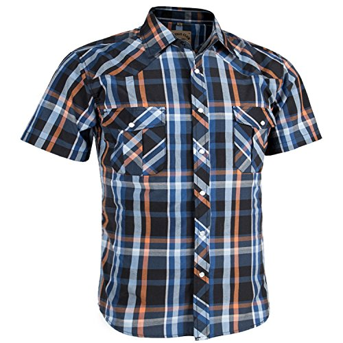 Coevals Club Men's Casual Plaid Snap Front Short Sleeve Shirt (Orange / blue #5, XXL)