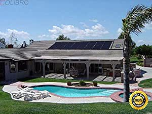 COLIBROX--2'x10' Solar Swimming Pool Heater Panel for Inground above ground Pools. Easy & cost-effective way to heat your pool Raises water temperature 11-15 degrees F. Works with most pool pumps.