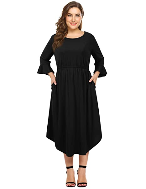 d520db34730dd Clearlove Women's Plus Size Bell Sleeve Casual Hi Low Maxi Dress with  Pockets Black 3XL