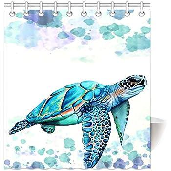 HommomH 65 X 72 Shower Curtain With Hooks Bathroom Anti Bacterial Waterproof Comfortable Sea Turtle