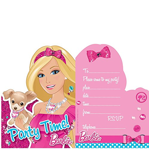 Birthday Card Barbie Invitation - Barbie Girls Kids Birthday Party Invite Invitation Cards Pack Of 6