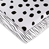 Baby-Sheet-Set-2-Pack-Black-and-White-Abstract-Stripes-and-Dots-by-Elys-Co