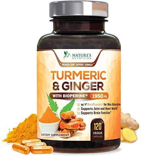 Turmeric Curcumin with BioPerine & Ginger 95% Curcuminoids 1950mg – Black Pepper for Absorption, Made in USA, Natural…