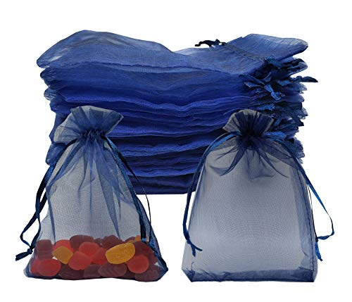 Sanrich Sheer Organza Bags 60pcs Favor Gift Bag Drawstring Mesh Bags Business Packages (4x6, navy - Navy Bags Organza 3x4 Blue