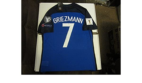 e33570a60 Nike Antoine Griezmann  7 France Euro 2016 2018 World Cup Heart Respect  Patches Authentic Vapor Match Aeroswift Player Issue Version Large Blue Home  Soccer ...