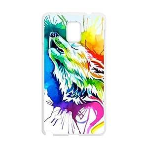Custom Rainbow color Lobo Animal Protective Skin Case for Samsung Galaxy Note 4
