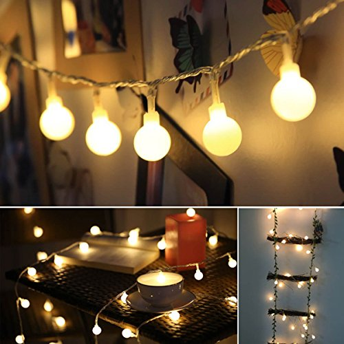 ALOVECO LED String Lights, 14.8ft 40 LED Waterproof Ball Lights, 8 Lighting Modes, Battery Powered Starry Fairy String Lights for Bedroom, Garden, Christmas Tree, Wedding, Party (Warm Light)]()