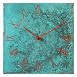 Cheap Large Square Torquoise Copper Wall Clock 12-inch – Silent Non Ticking Gift for Home/Office/Kitchen/Bedroom/Living Room