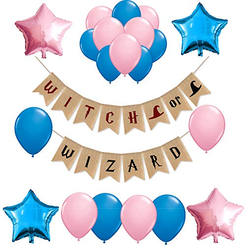 Gender Reveal Party Supplies and Decorations,Witch or Wizard Harry Potter Theme Burlap Banner for Boy or Girl,Pink or Blue,Baby Shower Ideas, Pregnancy Photo Prop