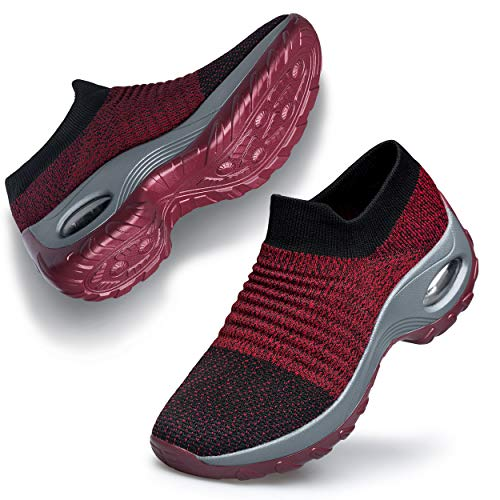 Belilent Womens Walking Shoes - Slip on Sneaker Socks Platform Nurse Mesh Breathable Air Cushion Socks Shoes Lightweight Comfortable Red Gray 6.5 ()