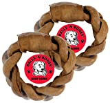 Balls 'n Bones 8″ Beef Braided Rawhide Ring for Large Dogs, Safety-Sealed, Twin-Pack