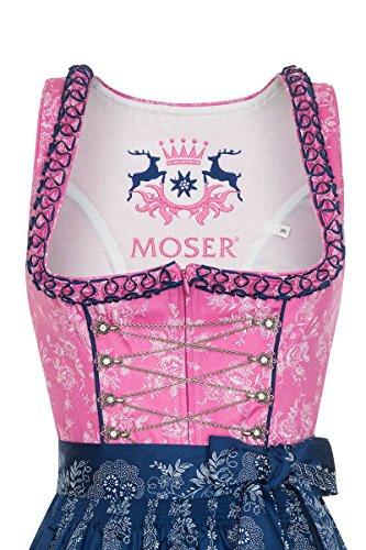 Moser® Damen Midi Dirndl 65er pink-dunkelblau Rosalinda 130936