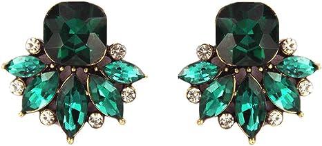 Vintage Art Deco Style Green Tourmaline Long Earrings Prom Boho Party